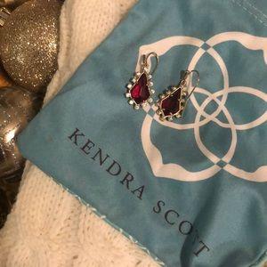 Red & Crystal Drop Earrings
